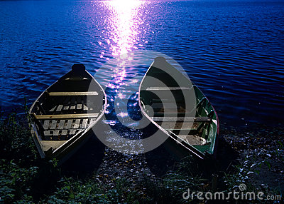 Two boats at moonlight