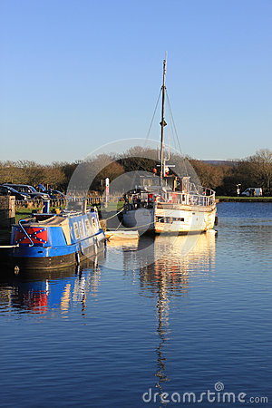 Two boats moored in the canal basin, Glasson Dock Editorial Stock Photo