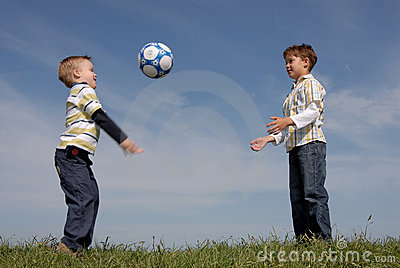 Two boys with a ball