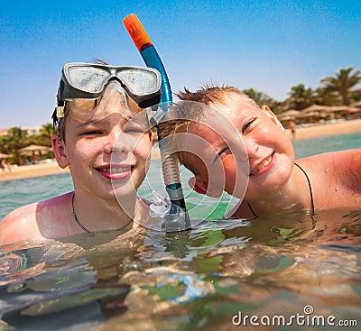 Two boys on a beach