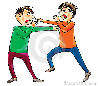 Two boys boxing