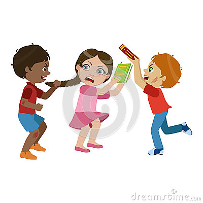 Two Boys Bullying A Girl, Part Of Bad Kids Behavior And ...