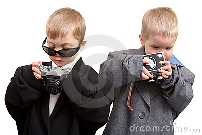 Two boys with cameras