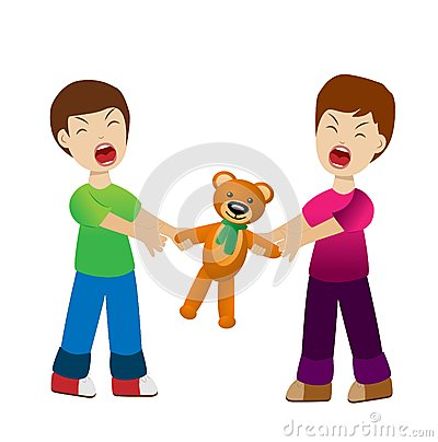 Two boys divide a toy bear cry Vector Illustration