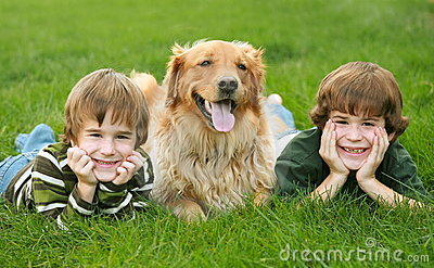 Two Boys And A Dog Stock Photos - Image: 4113083
