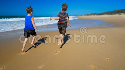 Two boys and dog running and splashing in water on the beach. Two happy boys with their dog running and splashing in water on the beach stock footage