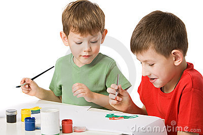 Two boys draw