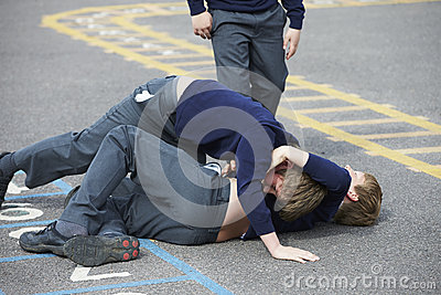 Two Boys Fighting In School Playground Stock Photo - Image ...