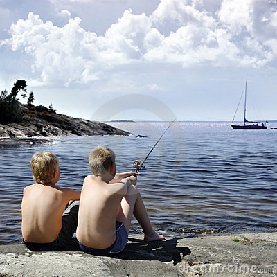 Free Two Boys Fishing Stock Photos - 860193