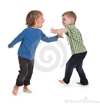 Two boys having fun