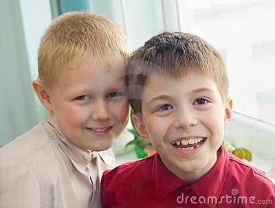 Two boys laugh