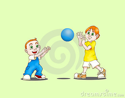 Two boys play ball