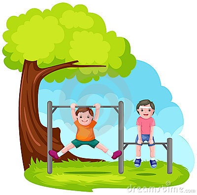Free Two Boys Playing With Park Bar Stock Images - 14346114