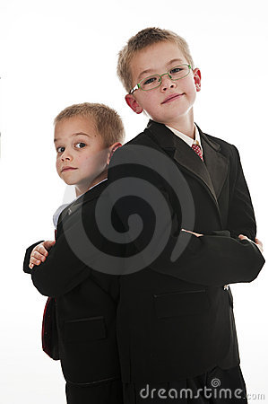 Two boys pretending to be businessmen