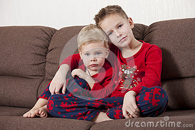 Two boys on the sofa