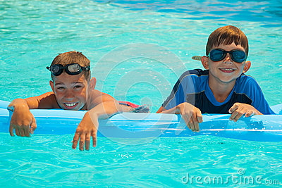 Two boys in the swimming pool 1