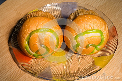 Two bread design in plate
