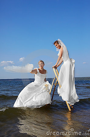 Two brides on stepladder