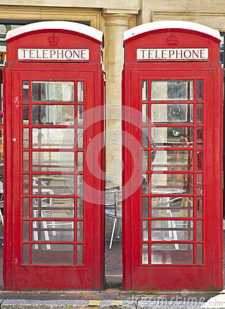Two British red telephone boxes
