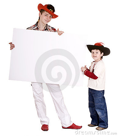 Two brother in hat with banner.
