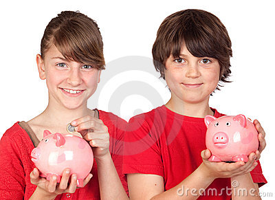 Two brothers with money-box