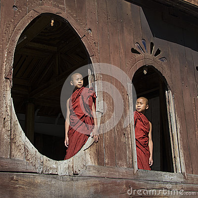 Novice Monks - Nyaungshwe - Myanmar (Burma) Editorial Photo