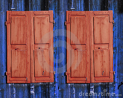 Two brown shutters
