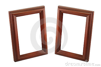 Two brown wooden frame