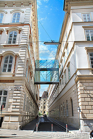 Two buildings and the bridge, Vienna, Austria