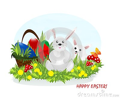 Two bunnies and Easter eggs, cdr vector
