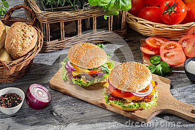 Two burgers made from fresh vegetables
