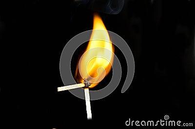 Two burning matchsticks