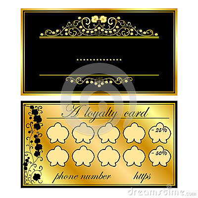 Two business cards with gold orchids Vector Illustration