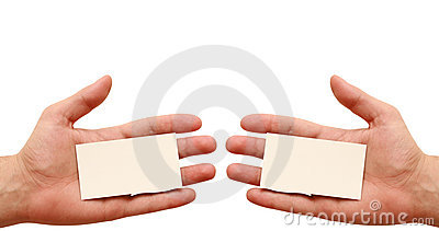 Two business cards in hands