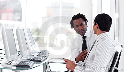 Two business interacting