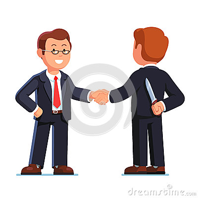 Two business man shaking hands. Betrayal metaphor. Vector Illustration
