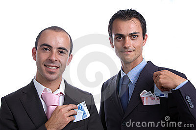 Two business men with cash