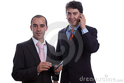 Two business men with pda cell