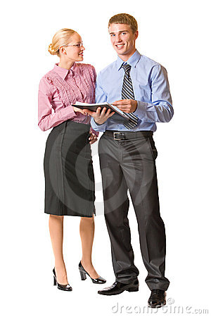 Two business people, isolated