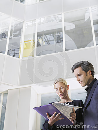 Free Two Business People Looking At Folder In Office Stock Image - 33895231