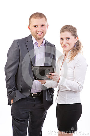 Two Business people  with Tablet Computer