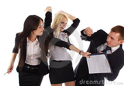 Two the business woman beat the man folders