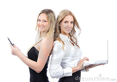 Two business woman with ebook and laptop
