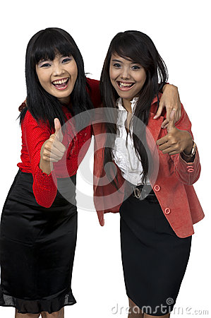 Two Business Woman Give Thumb Up