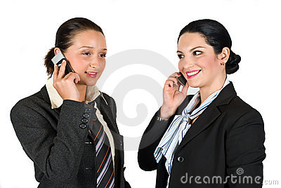 Two business woman on phone mobile