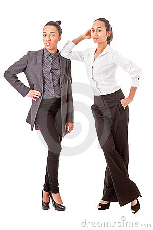 Two business  women in casual poses