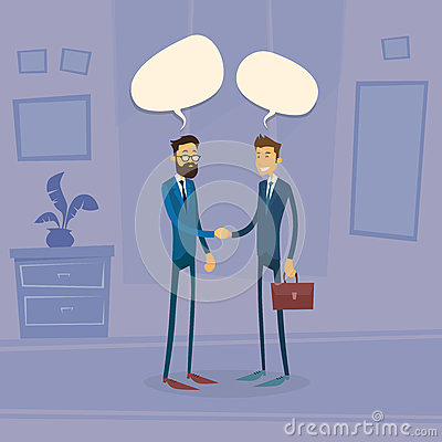 Free Two Businessman Hand Shake Talking Chat Box Bubble Stock Photography - 62372852