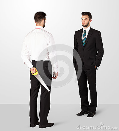 Two businessman shake hands Stock Photo