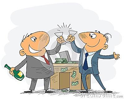 Two businessmen celebrate deal Vector Illustration