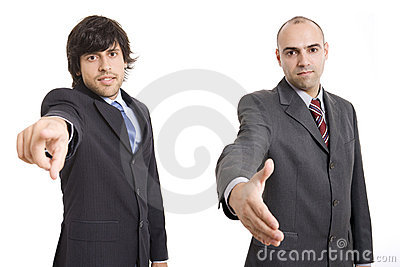 Two businessmen pointing and shaking